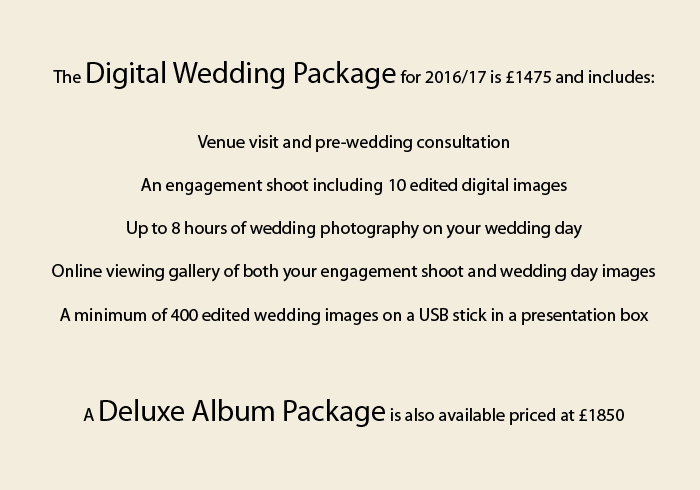 2016 wedding pricing